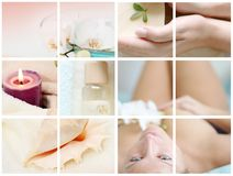 Wellness collage. A pretty woman with a flower Royalty Free Stock Images