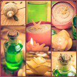 Wellness collage floral water bath salt spa series collage Stock Photo