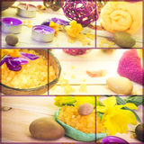 Wellness collage floral water bath salt spa series collection Royalty Free Stock Photography