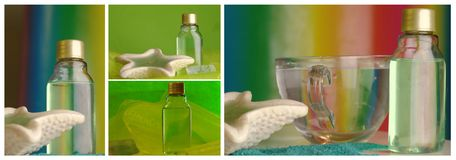 Wellness collage with shampoo and sea shell Royalty Free Stock Photo