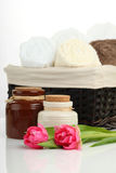 Wellness Concept. SPA - soap towels and flowers Stock Photo