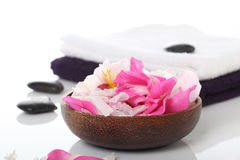 Wellness Concept. SPA - towels stones and flowers Stock Photo