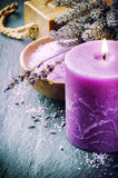 Wellness concept with lavender and scented candle Stock Photo