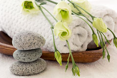 Wellness Decoration. Green roses on towel with stone tower as wellness decoration Royalty Free Stock Photography