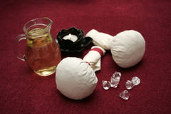 Wellness detail. Oil and massage supplies for wellness and spa Royalty Free Stock Photos