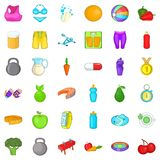 Wellness diet icons set, cartoon style. Wellness diet icons set. Cartoon style of 36 wellness diet vector icons for web isolated on white background Royalty Free Stock Photography