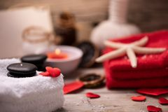 Wellness docoration on valentine`s day with candels and stones royalty free stock image
