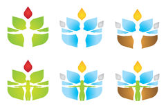 Wellness Elements logo. Variations of a logo suitable for wellness or spa  businesses, or for something ecological/spiritually related Stock Photography