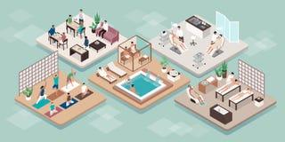 Wellness en beauty luxury spa behandelingen stock illustratie