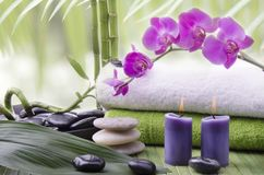 Wellness environment with aromatherapy. Wellness environment with close-up of some bamboo stalks, aromatic candles, Stones for massage and beautiful purple Stock Photography