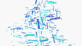 Wellness fitness exercise dieting nutrition word cloud typography animation. Word cloud typography animation on white background a metaphor to a healthy fitness vector illustration