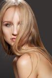 Wellness, Frisur. Schönes gerades glänzendes Haar Lizenzfreies Stockfoto