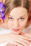Wellness Girl having massage in Spa royalty free stock image