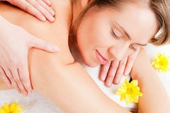 Wellness Girl having massage in Spa Stock Photos