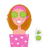 Wellness girl relaxing with cucumber on eyes green. Vector Illustration of stylized spa woman applying herbal cosmetics ( isolated on white Royalty Free Stock Photography