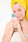 Wellness Girl Series Holding Her Water Royalty Free Stock Image