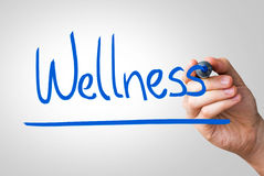 Wellness hand writing with a blue mark on a transparent board Stock Images