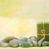 Wellness with herbal soap and stones Royalty Free Stock Photo
