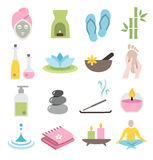 Wellness Icons. Collection of icons representing wellness, relaxation and spa - flat design Royalty Free Stock Images