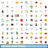 100 wellness icons set, cartoon style. 100 wellness icons set in cartoon style for any design illustration royalty free illustration