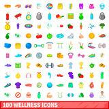 100 wellness icons set, cartoon style. 100 wellness icons set in cartoon style for any design vector illustration royalty free illustration