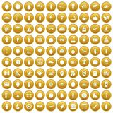 100 wellness icons set gold. 100 wellness icons set in gold circle isolated on white vector illustration Royalty Free Stock Images