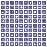 100 wellness icons set grunge sapphire. 100 wellness icons set in grunge style sapphire color isolated on white background vector illustration Stock Photos