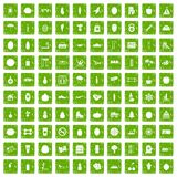 100 wellness icons set grunge green. 100 wellness icons set in grunge style green color isolated on white background vector illustration Stock Photos
