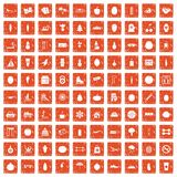 100 wellness icons set grunge orange. 100 wellness icons set in grunge style orange color isolated on white background vector illustration Royalty Free Stock Image