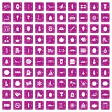 100 wellness icons set grunge pink. 100 wellness icons set in grunge style pink color isolated on white background vector illustration Royalty Free Stock Images