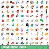 100 wellness icons set, isometric 3d style Stock Photography