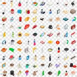 100 wellness icons set, isometric 3d style Royalty Free Stock Photography