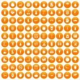 100 wellness icons set orange. 100 wellness icons set in orange circle isolated on white vector illustration Vector Illustration