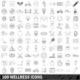 100 wellness icons set, outline style. 100 wellness icons set in outline style for any design vector illustration Royalty Free Stock Images