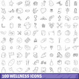 100 wellness icons set, outline style. 100 wellness icons set in outline style for any design vector illustration Stock Image