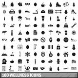 100 wellness icons set, simple style Royalty Free Stock Images
