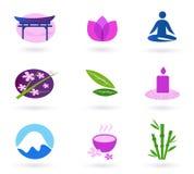 Wellness, l'Asia, rilassamento ed insieme dell'icona della stazione termale Fotografia Stock