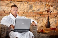 Wellness with laptop computer Stock Images