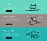 Wellness line vector web banners set Stock Photography