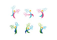 Wellness logo, opieki piękna symbol, zdrój ikony zdrowie, roślina, zdrowi ludzie ustawiających wektorów projektów Zdjęcia Royalty Free