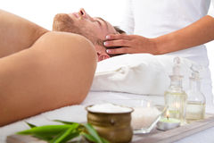 Wellness for man - relaxing with massage Stock Images