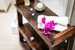 Wellness massage saloon decoration royalty free stock images