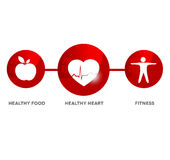 Wellness and medical symbol. Illustration symbolizes healthy food and fitness leads to healthy heart and healthy life Royalty Free Stock Image