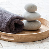 Wellness and meditation concept over feng shui pebbles Stock Photo