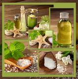 Wellness mit Naturprodukten, Collage Stockbild