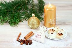 Winter spa concept with candles. Stock Image