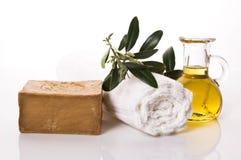 Wellness. olive bath items Royalty Free Stock Image