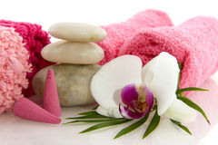Wellness in pink with orchid Stock Photo