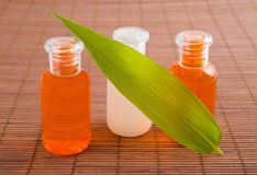 Wellness products. Bottles with bamboo leaf Royalty Free Stock Photos