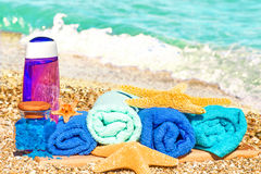 Wellness products on sand Stock Photos